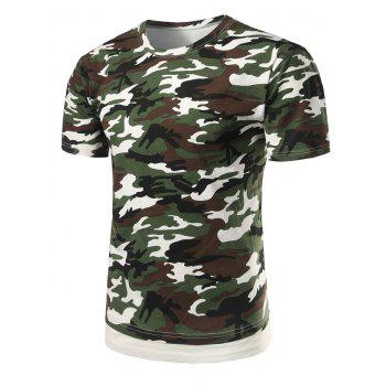 Crew Neck Hem Panel Camo T-Shirt