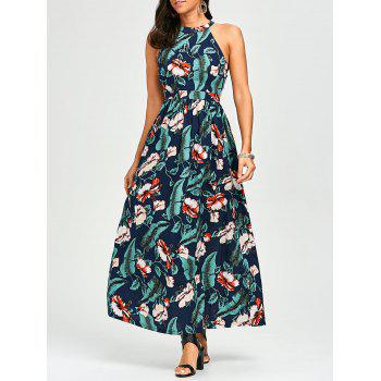High Waist Cutout Floral Hawaiian Dress