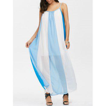 Color Block Chiffon Casual Maxi Dress