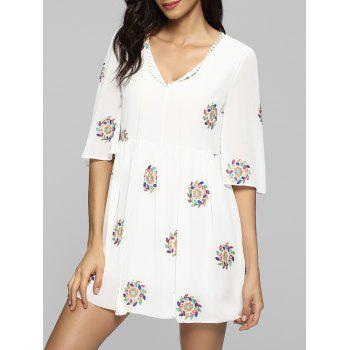 Floral Embroidered Tassel Self Tie Mini Dress