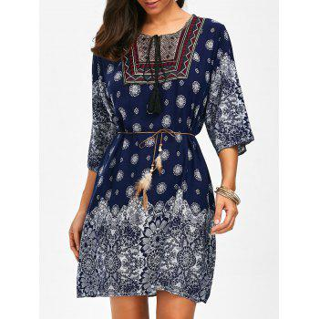 Self Tie Embroidered Printed Dress CERULEAN