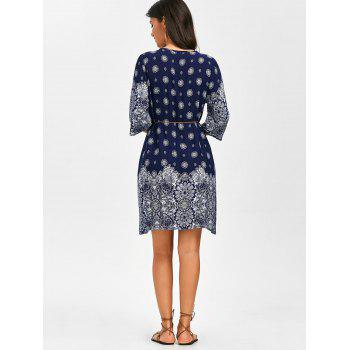 Self Tie Embroidered Printed Dress - CERULEAN CERULEAN