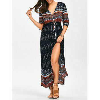 Bohemian Tribal Print Split Button Up Dress