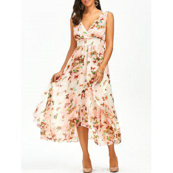 Empire Waist Butterfly Print Ruffle Dress