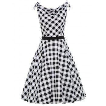 Cowl Neck Checked Vintage Belted Dress - BLACK WHITE 2XL