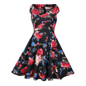 Floral Print 1950s Sleeveless Dress