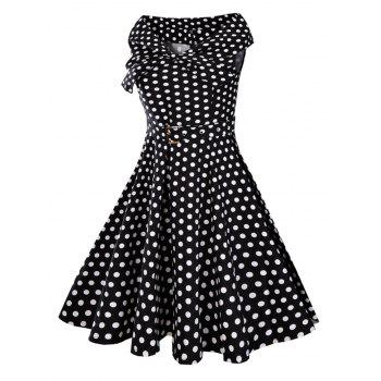 Bowknot Collar 50s Polka Dot Dress - Noir 2XL