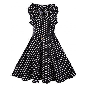 Bowknot Collar 50s Polka Dot Dress