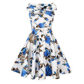 High Waist Floral Print Vintage Flare Dress - BLUE BLUE