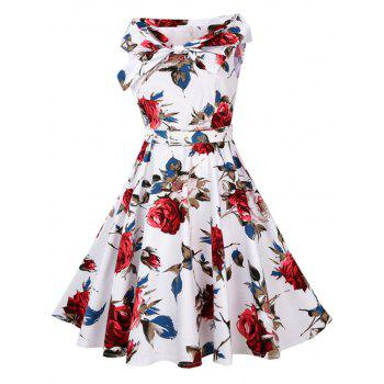 High Waist Floral Print Vintage Flare Dress - XL XL