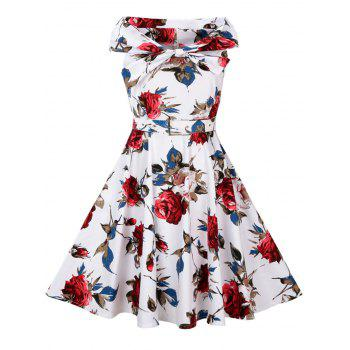 High Waist Floral Print Vintage Flare Dress - RED XL