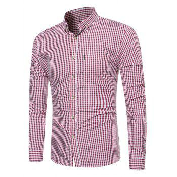 Button Down Long Sleeve Gingham Shirt