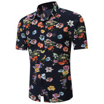 All Over Floral Print Hawaiian Shirt - FLORAL S