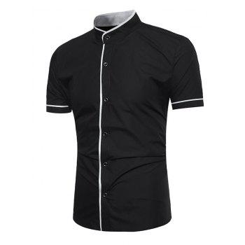 Grandad Collar Two Tone Shirt - BLACK M