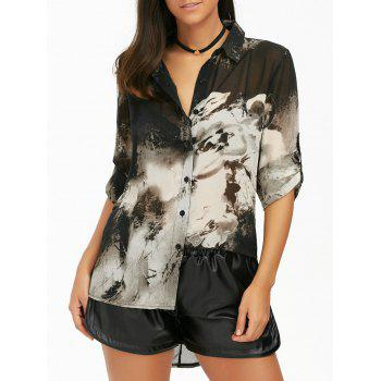 High Low Ink Painting Chiffon Blouse - BLACK XL