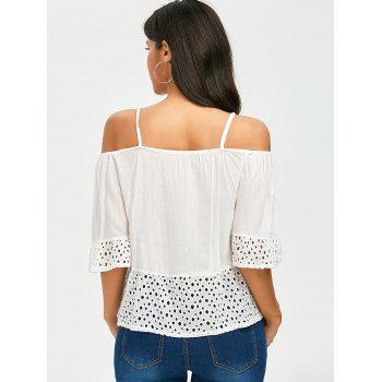 Spaghetti Strap Cold Shoulder Top - WHITE L
