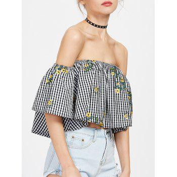 Off The Shoulder Plaid Embroidered Blouse - M M