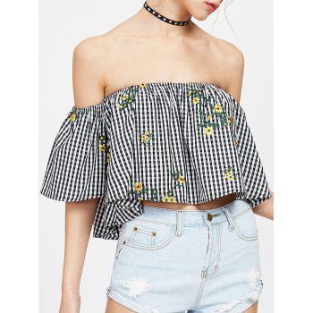 Off The Shoulder Plaid Embroidered Blouse - BLACK WHITE M