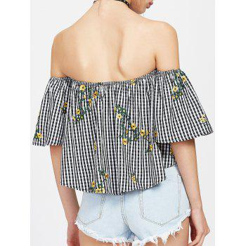 Off The Shoulder Plaid Embroidered Blouse - L L