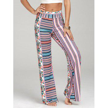 High-Waisted Bohemian Print Palazzo Pants - multicolor XL