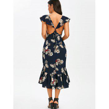 Plunging Floral Ruffle Backless Tea Length Dress - PURPLISH BLUE M