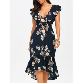 Plunging Floral Ruffle Backless Tea Length Dress - PURPLISH BLUE XL