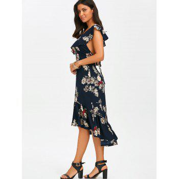 Plunging Floral Ruffle Backless Tea Length Dress - XL XL