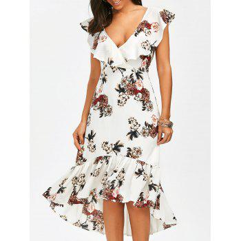 Plunging Floral Ruffle Backless Tea Length Dress - WHITE S