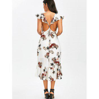 Plunging Floral Ruffle Backless Tea Length Dress - S S
