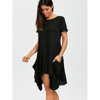 Pockets Oversized Asymmetrical Dress - BLACK BLACK