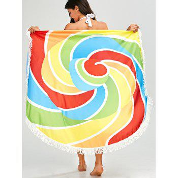 Fringed Rainbow Round Beach Throw
