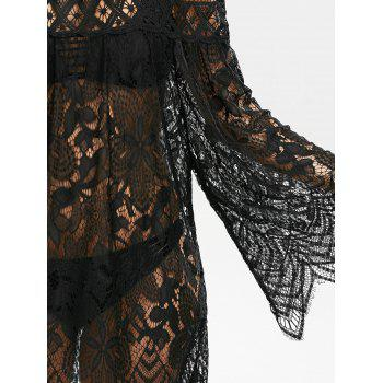 Flared Sleeve Crochet Lace Tunic Cover Up Dress - BLACK BLACK