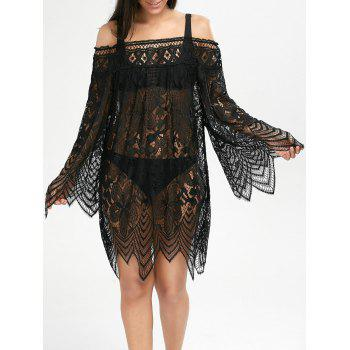 Flared Sleeve Crochet Lace Tunic Cover Up Dress - BLACK XL