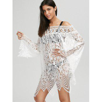 Flared Sleeve Crochet Lace Tunic Cover Up Dress - XL XL