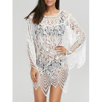 Flared Sleeve Crochet Lace Tunic Cover Up Dress - WHITE XL