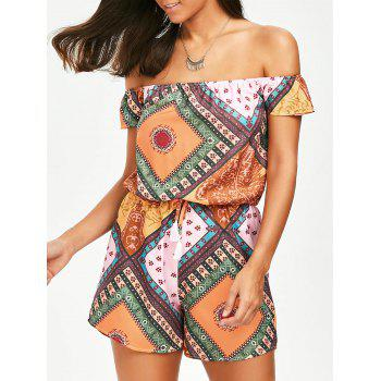 Off The Shoulder Tribal African Print Romper
