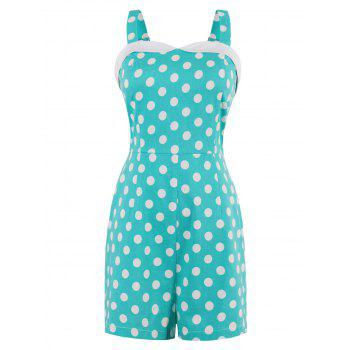 Sweetheart Neck Polka Dot Print Romper - SKY BLUE L