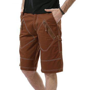 Multi Pockets Zip Fly Bermuda Shorts - BRICK RED BRICK RED