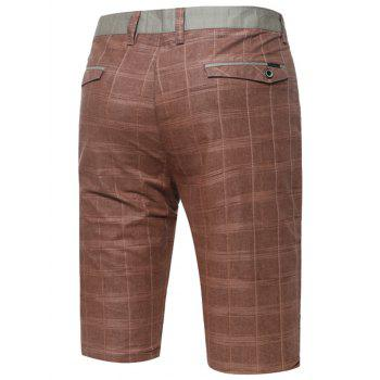 Zipper Fly Plaid Bermuda Shorts - COFFEE COFFEE