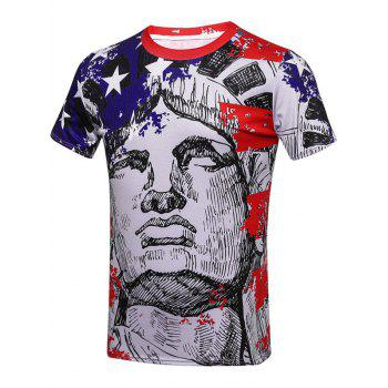Sculpture Print Patriotic T-Shirts - COLORMIX 3XL