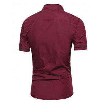 Grandad Collar Two Tone Shirt - WINE RED WINE RED