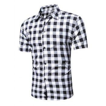 Turndown Collar Checked Linen Shirt