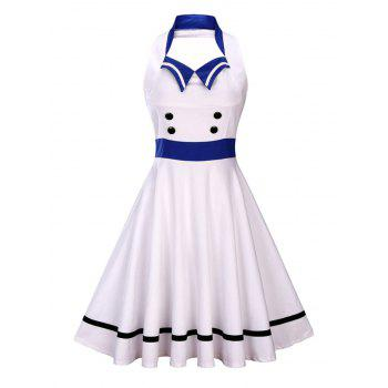 Sleeveless Backless Sailor Collar Pin Up Dress