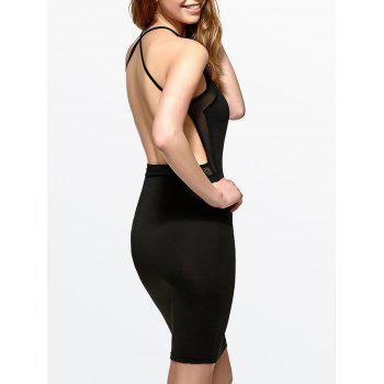 Open Back Mesh Insert Bodycon Dress