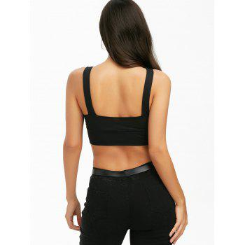 Ladder Cut Out Crop Top - BLACK XL
