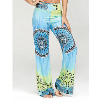 High Waisted Ethnic Print Palazzo Pants