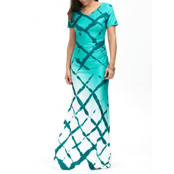 Short Sleeve Plaid Print Ombre Maxi Dress