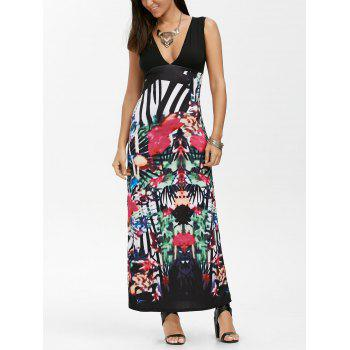 Tribal Print Sleeveless Empire Waist Maxi Dress