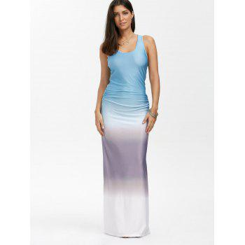 Ombre Print Racerback Tank Maxi Dress, COLORMIX, M in Maxi Dresses ...