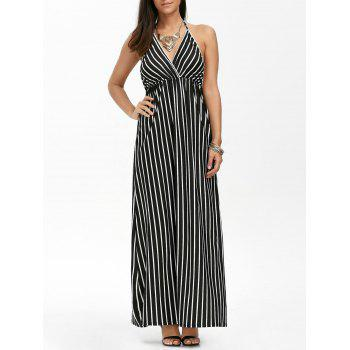 Empire Waist Halter Backless Striped Formal Prom Maxi Dress